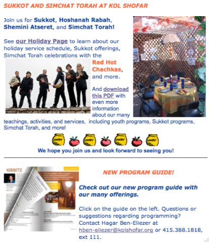 Sukkot and Simchat Torah at Kol Shofar