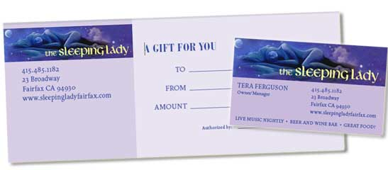 Gift Certificate and Business Card layouts